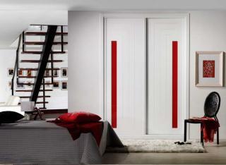 Frente de armario Lacado en blanco pantografiado con cristal 2